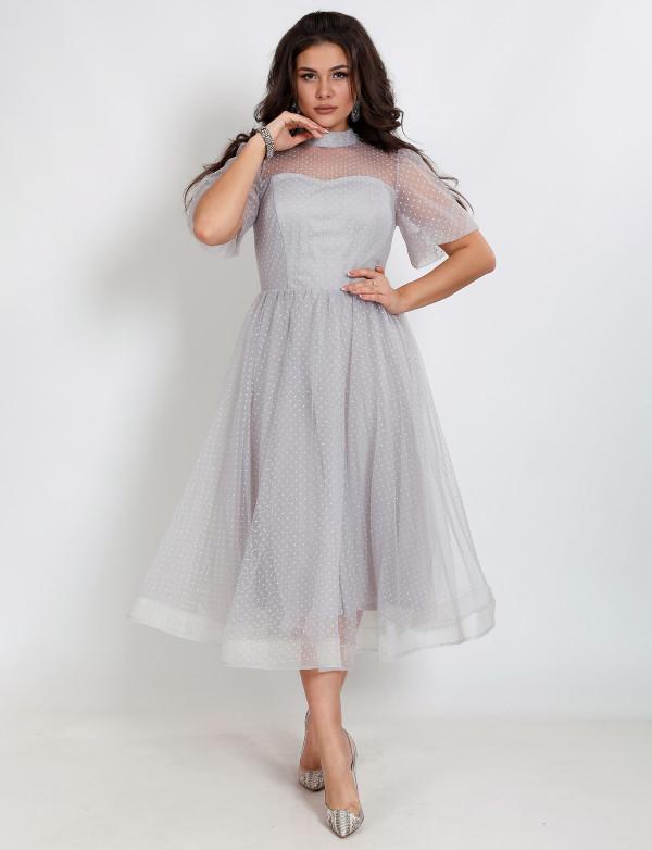 G 2353 Платье коктейльное в французском стиле в мелкую бархатную мушку