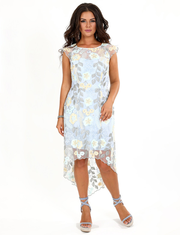 G 2268 Платье с ассиметричной юбкой и цветочным принтом