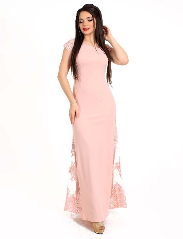 G 2180 Платье вечернее со вставками из гипюра