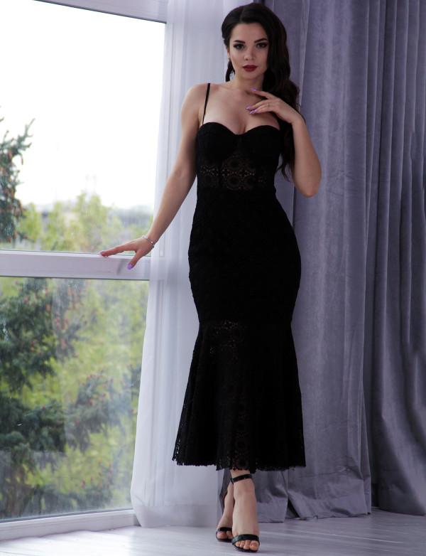 G 3059 A Платье вечернее из гипюра-макраме с имитацией топа и юбки