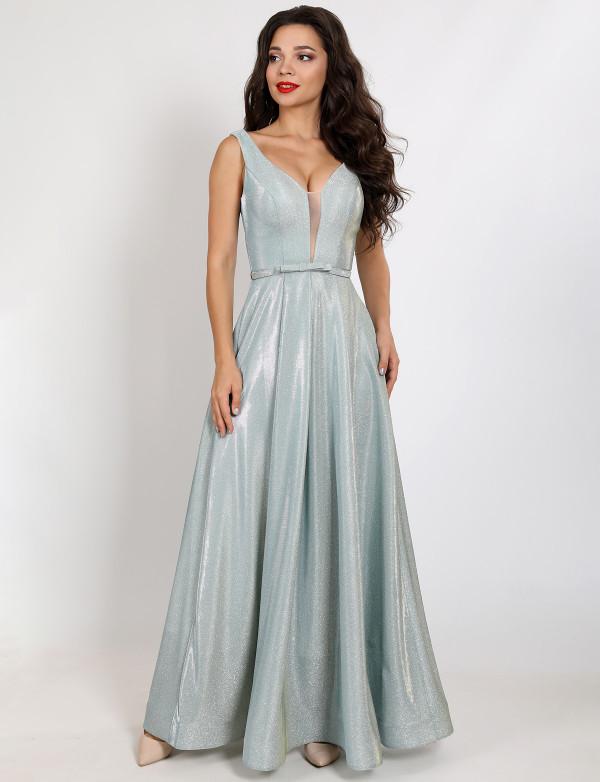 G 2282 2 Платье вечернее из сияющего люриксового трикотажа с V-образным вырезом