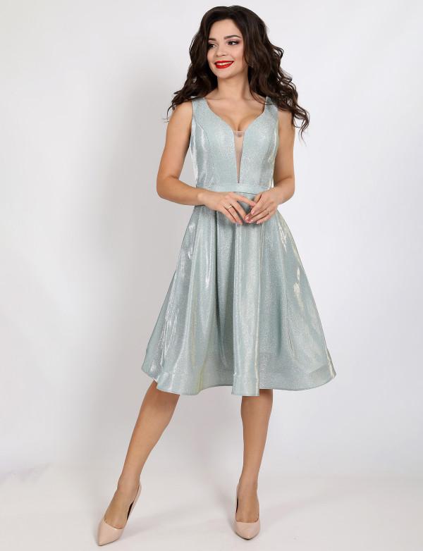 P 0997 2 Платье коктейльное из струящегося люрикса
