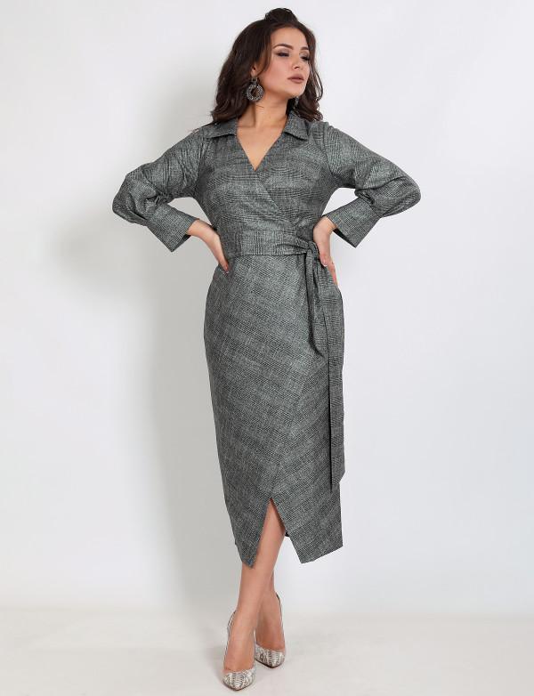 G 2372 Платье коктейльное из трикотажной ткани с напылением