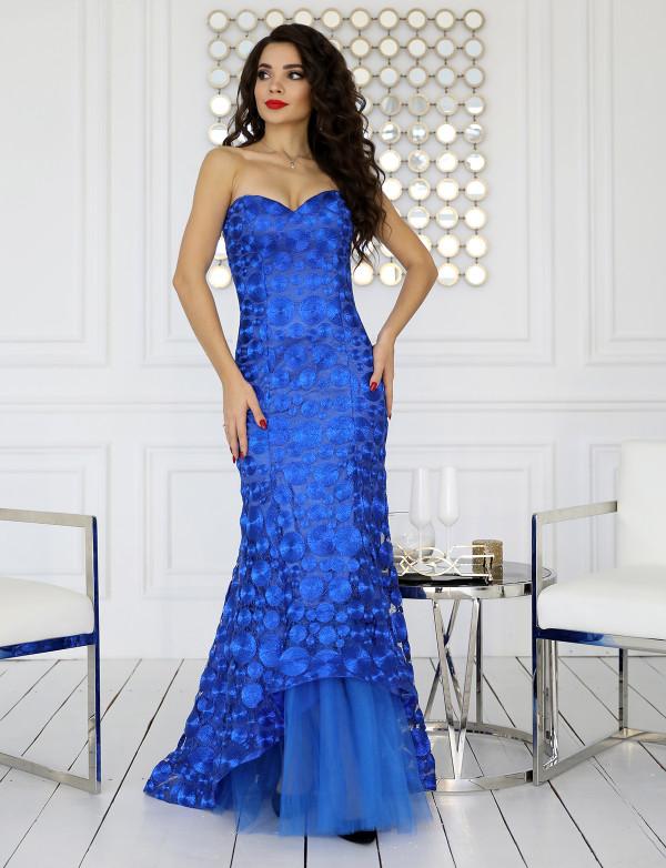 G 2322 Платье вечернее из шикарного кругового гипюра с фатиновой подкладкой