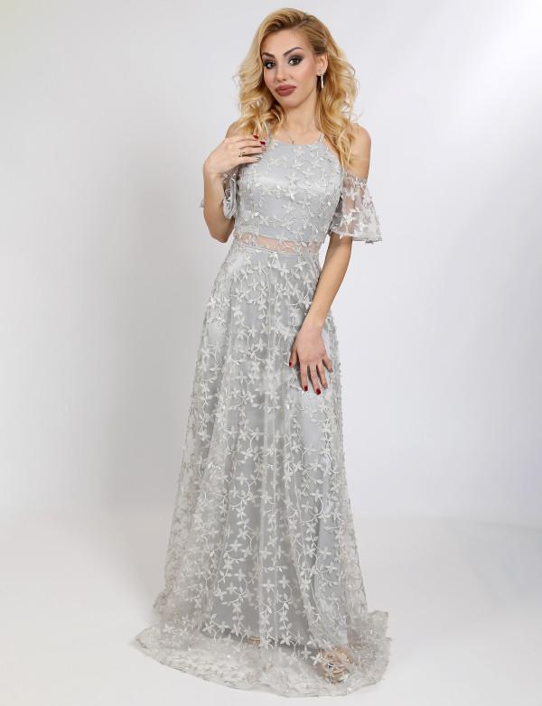 G 3119 Платье вечернее из вышитой гладью пайетки с рукавами