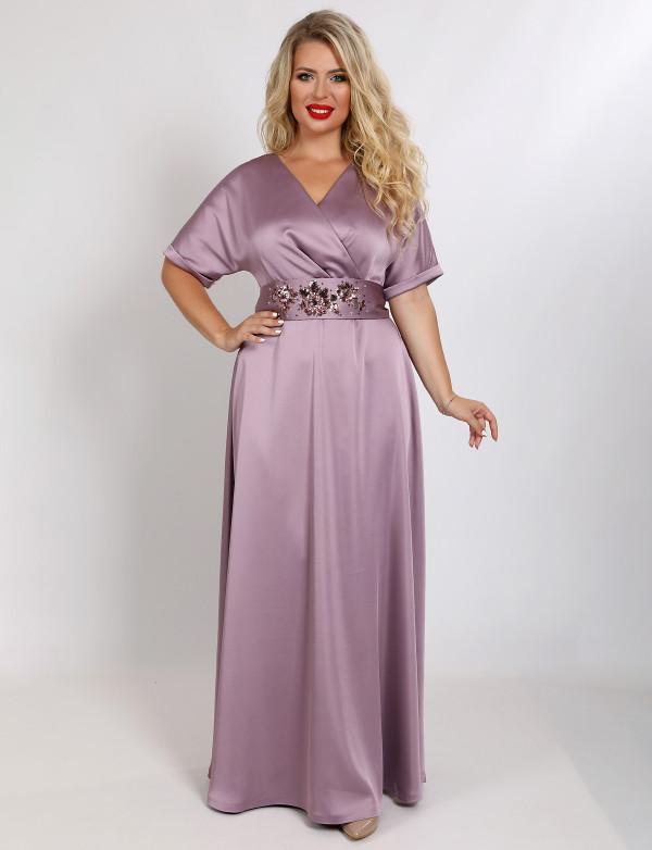 G 3172 A Платье вечернее из мягкого атласа с вышитым поясом