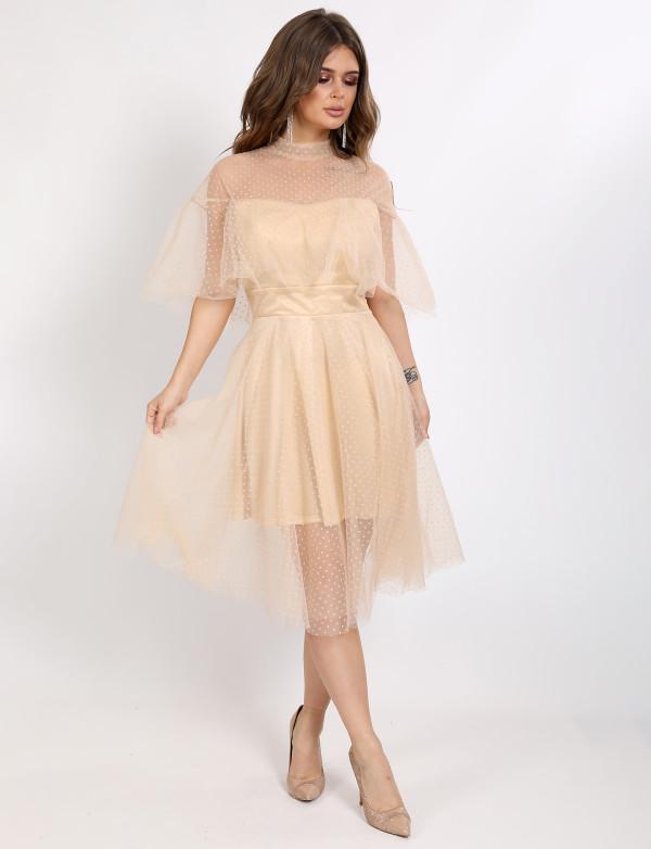P 1063 Платье коктейльное в мелкую мушку