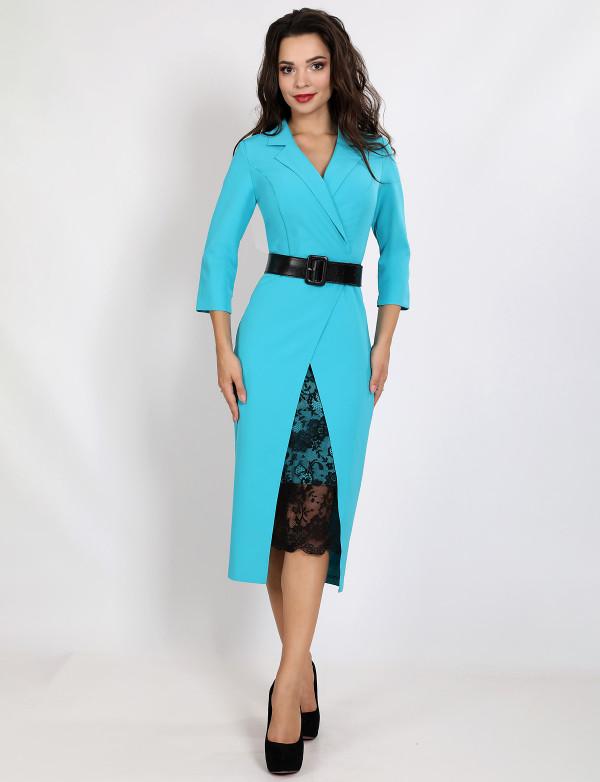 G 2345 Платье деловое с гипюровой вставкой и поясом