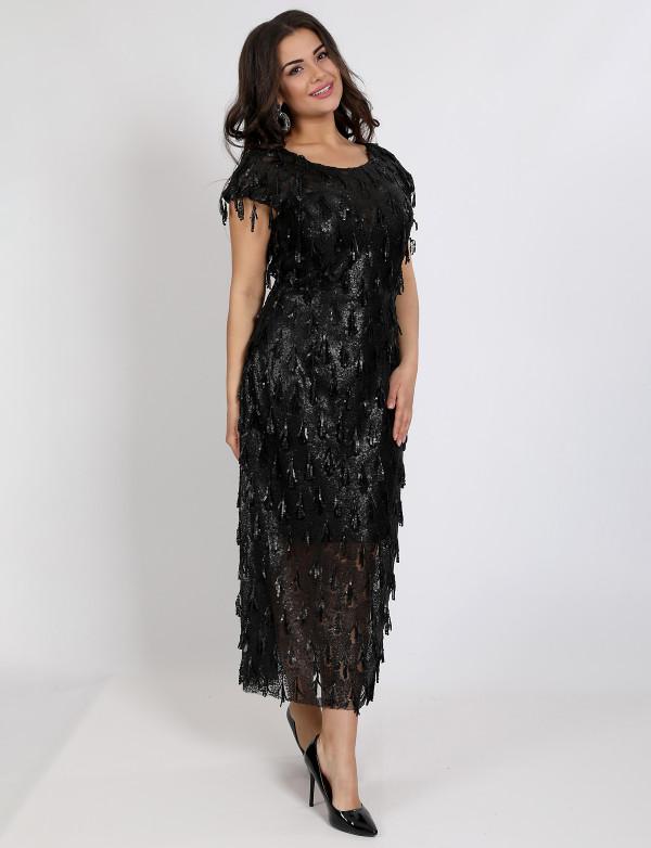 G 2315 A Платье вечернее из пайетки в виде бахромы