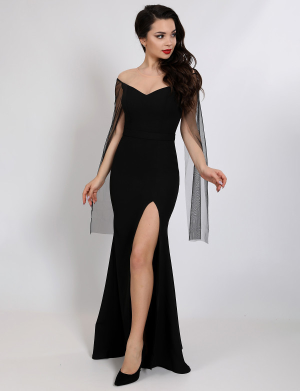 G 3125 Платье вечерне с рукавами из сетки