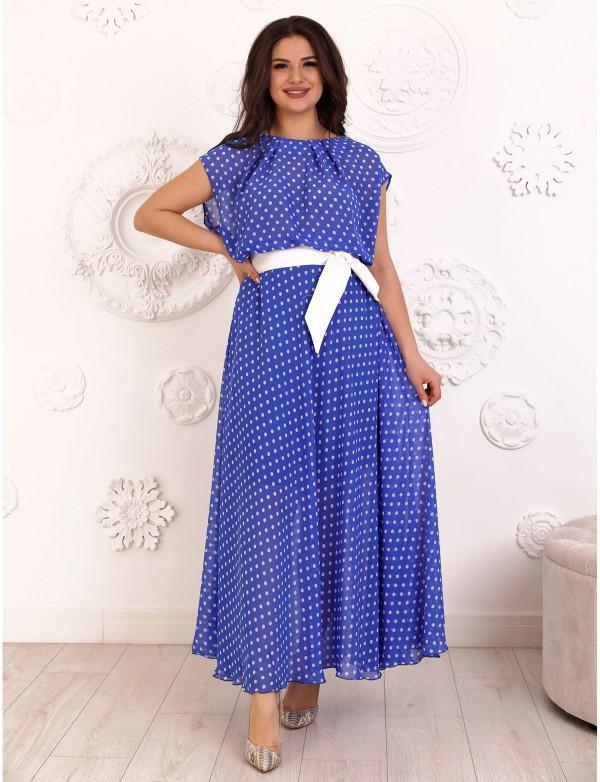 G 0833 2 Платье в пол из шифона с пояском