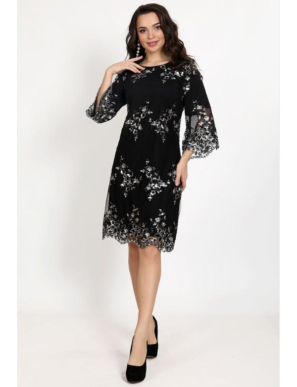 P 1097 Платье коктейльное с вышитой пайеткой на сетке