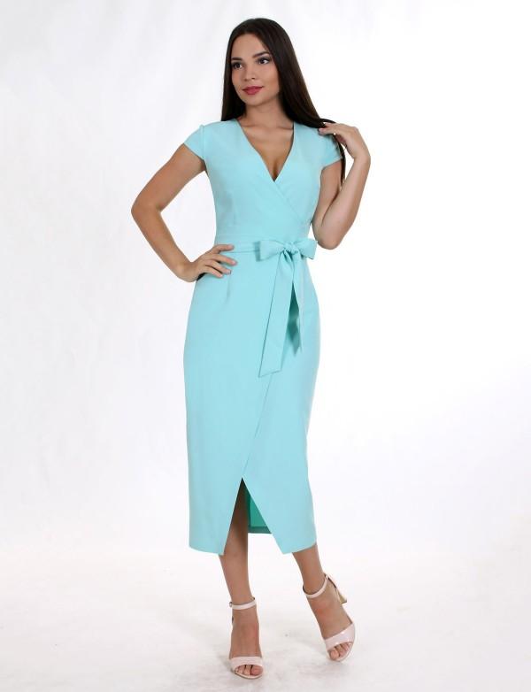 G 2142 A9 Платье деловое на запах, с коротким рукавом