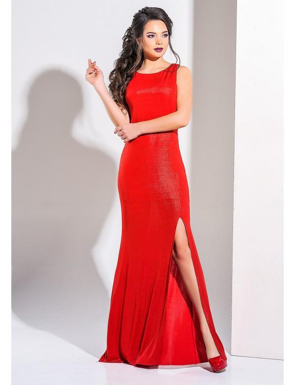 G 3021 С3 Платье вечернее из ликры-хамелеона с разрезом