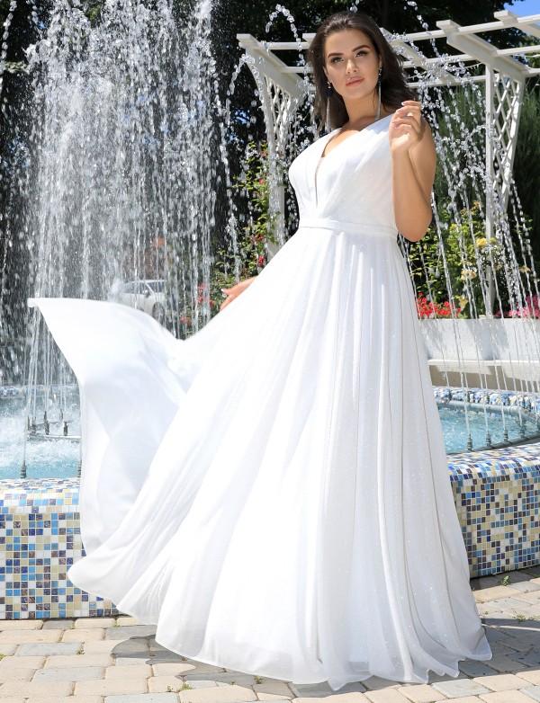 G 5011 1 Платье вечернее из мерцающей ткани с юбкой солнце-клёш