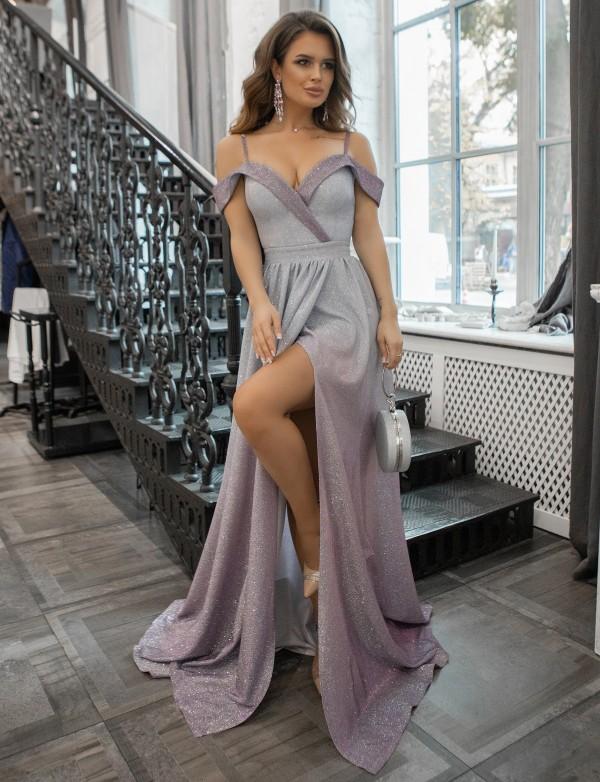 G 3185 Платье вечернее из люриксового трикотажа