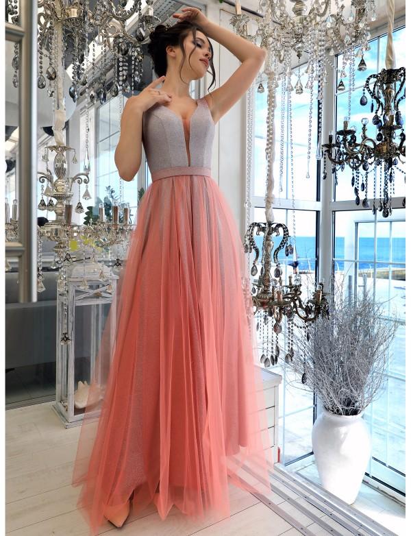 G 5009 Платье вечернее с глиттерным напылением и юбкой из евросетки
