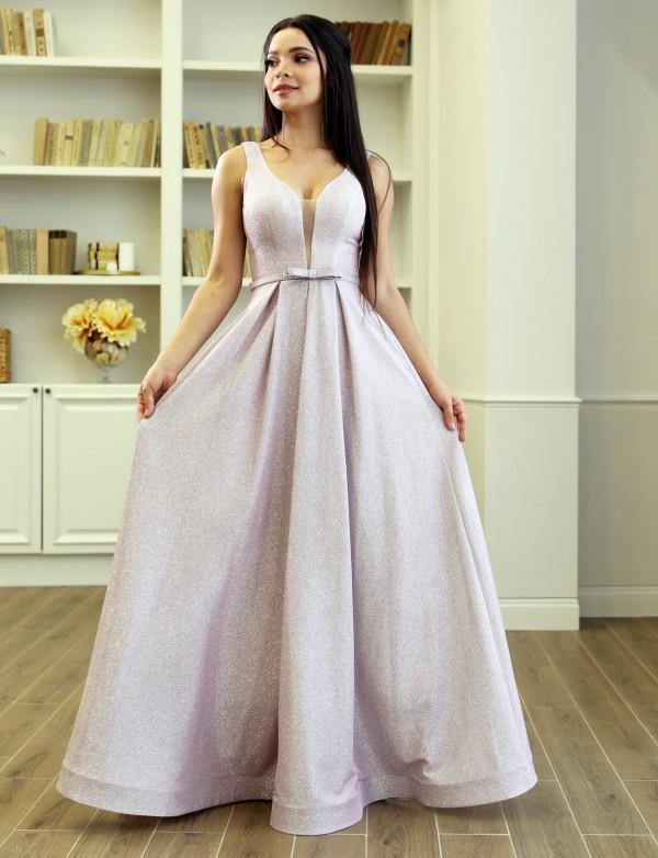 G 2282 3 Платье вечернее из сияющего трикотажа с V-образным вырезом