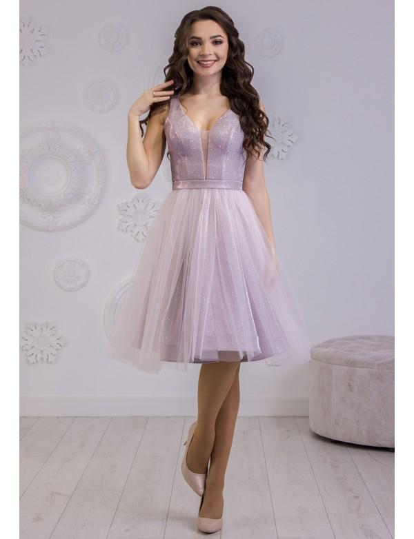 P 1116 2 Платье коктейльное с глиттерным напылением и юбкой из евросетки