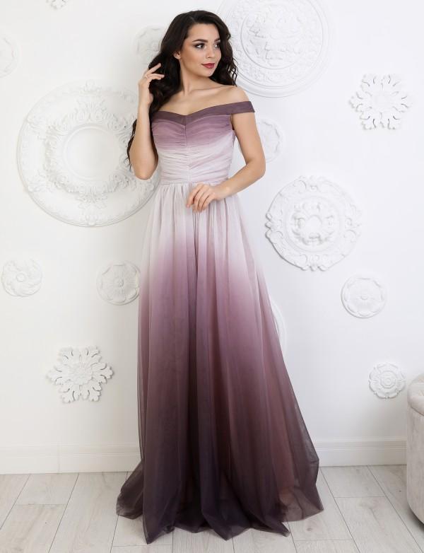 G 2361 Платье вечернее из сетки-омбре с драпировкой