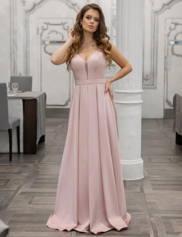 G 2367 Платье вечернее из мягкого атласа с V - образным вырезом