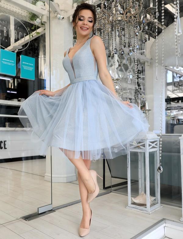 P 1116 Платье коктейльное с глиттерным напылением и юбкой из евросетки