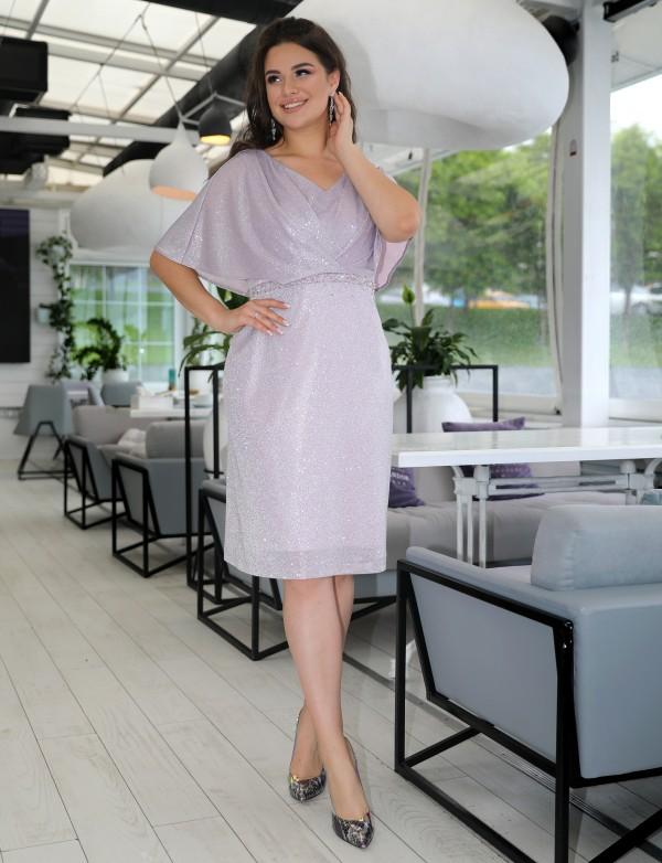 """P 1093 2 Платье коктейльное из люрексового трикотажа с рукавами """"крылышко"""""""