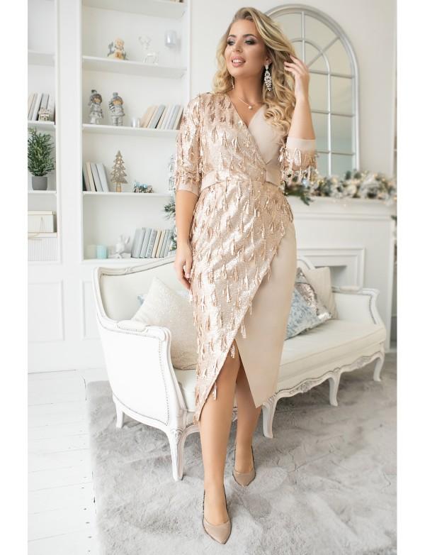 G 2373 Платье коктейльное на запах из сатиновой пайетки и трикотажа