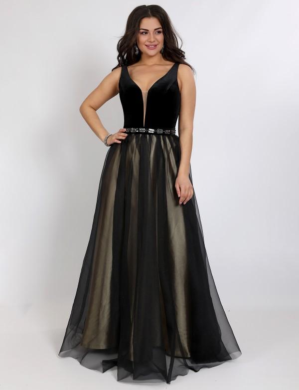 G 2305 1 Платье вечернее в виде бархатного лифа и двухслойной юбки из органзы и атласа
