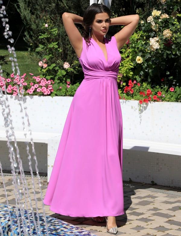 G 3166 Платье вечернее из струящейся ткани на запах