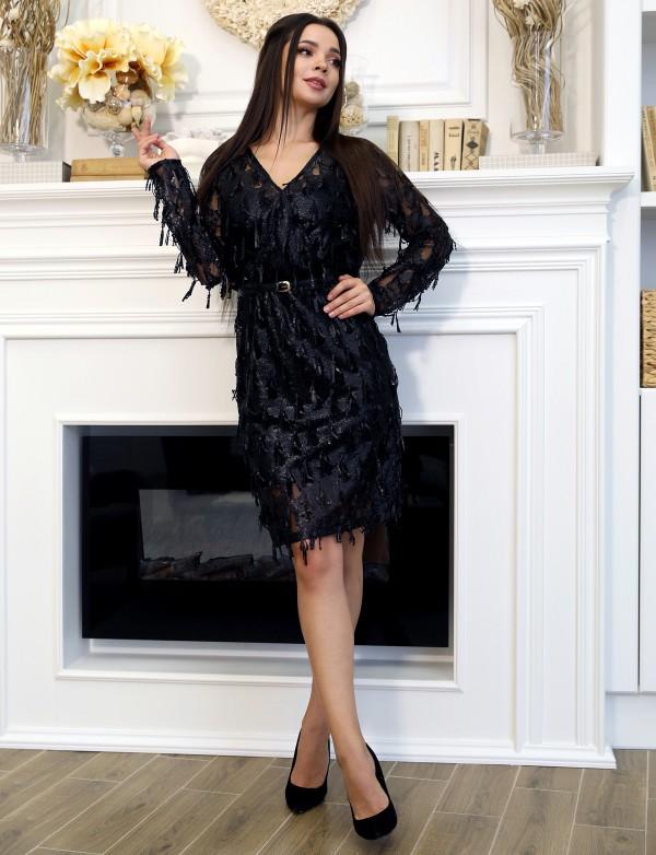 P 2019 Платье коктейльное из пайетки-бахромы
