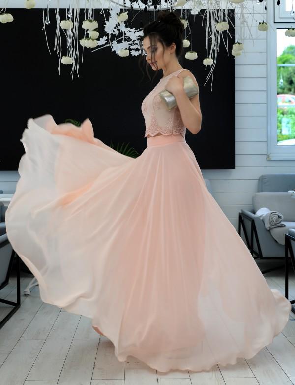 G 2081 Вечернее платье в виде топа из гипюра и длинной шифоновой юбки