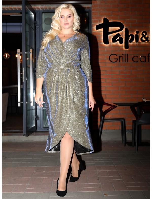 G 2370 A Платье коктейльное из люриксового трикотажа