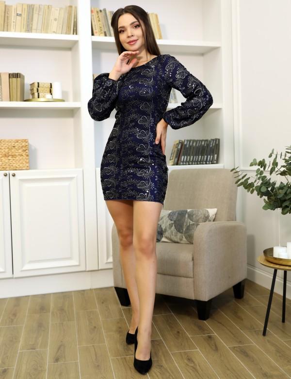 P 1086 Платье коктейльное из вышитого пайеткой гипюра с рукавами-воланами