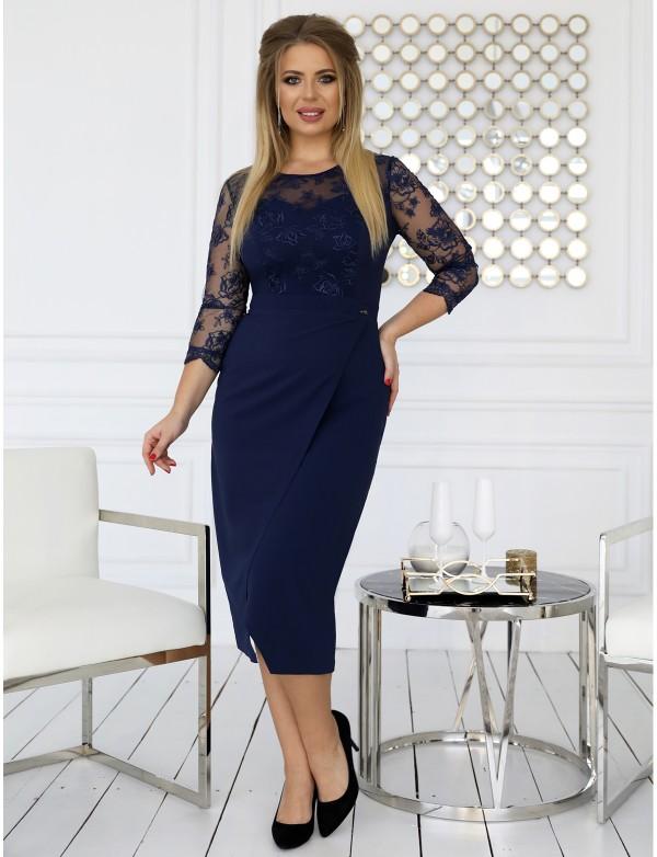 G 3177 Платье повседневное с гипюровыми вставками с имитацией запаха
