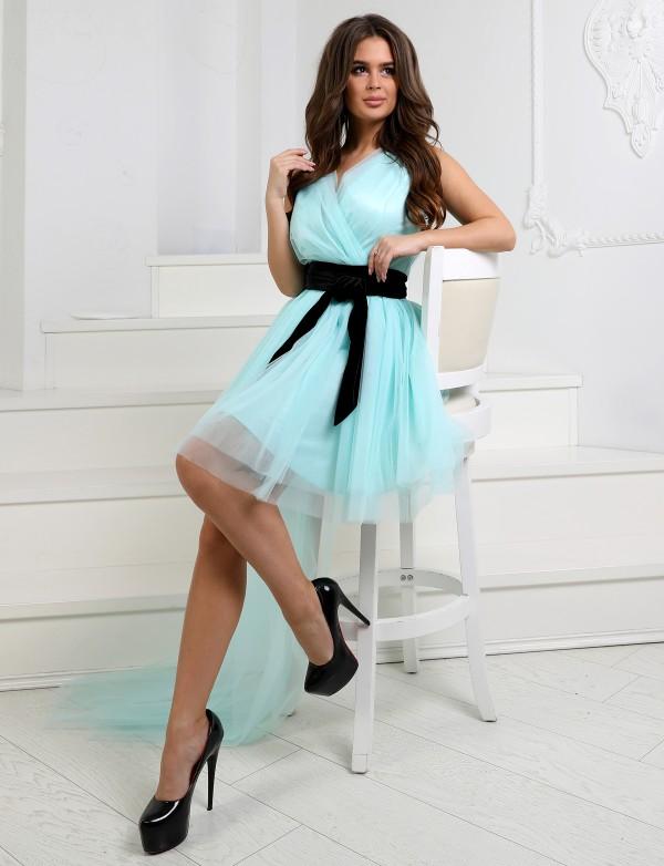 P 1037 Платье коктейльное со съемным шлейфом