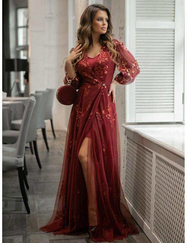 G 2331 Платье-двойка вечернее из сарафана и гипюровой накидки вышитой пайетками