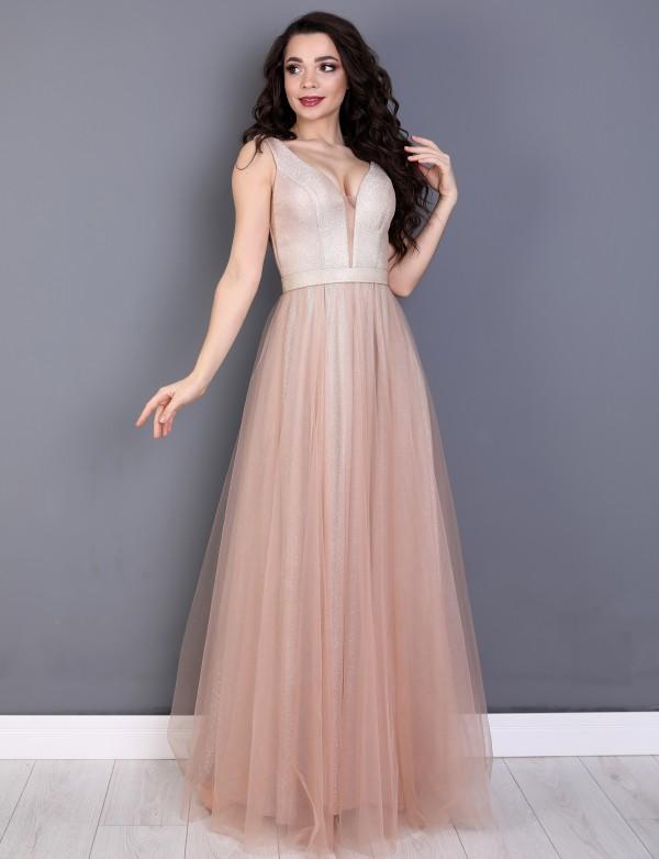 G 5009 2 Платье вечернее с глиттерным напылением и юбкой из евросетки