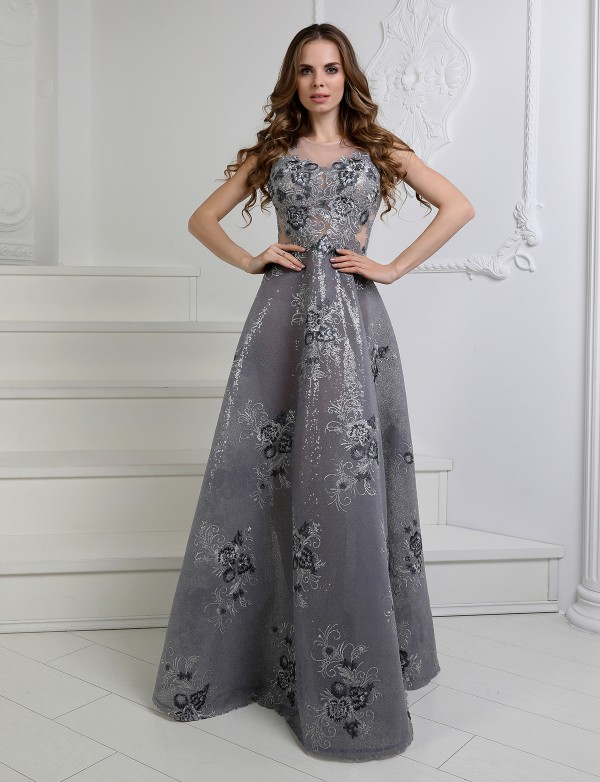 G 3116 Платье вечернее из шикарной ткани в пайетку