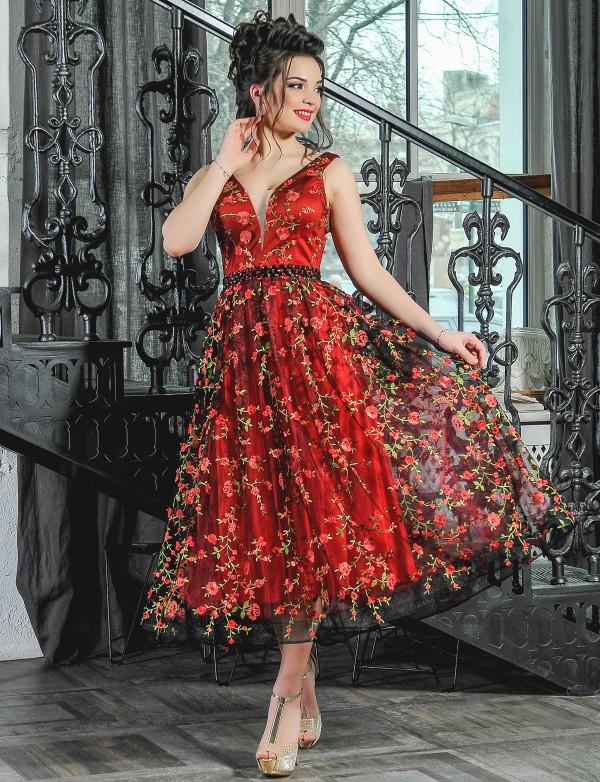 G 2182 Платье вечернее с V-образным вырезом