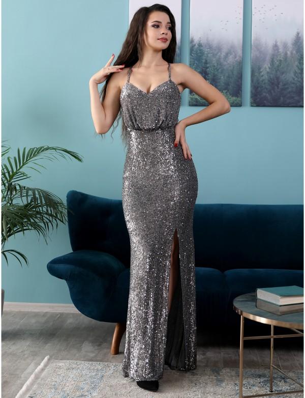 G 3152 Платье вечернее из мягкой пайетки на сетке на бретелях
