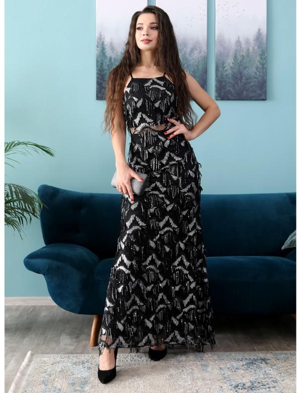 G 2258 Платье вечернее из ткани с бахромой в виде паетки