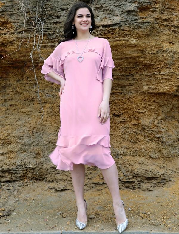OP 1135 Платье коктейльное с воланами
