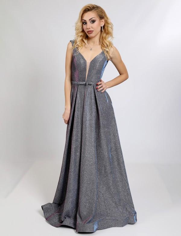 G 2282/2 Платье вечернее из сияющего люриксового трикотажа с V-образным вырезом