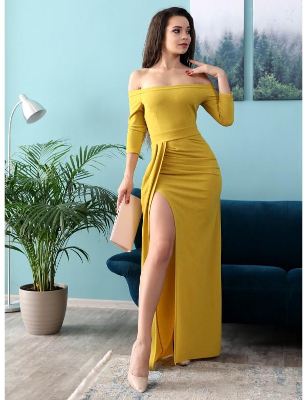 G 3100 Платье из люриксового трикотажа с разрезом