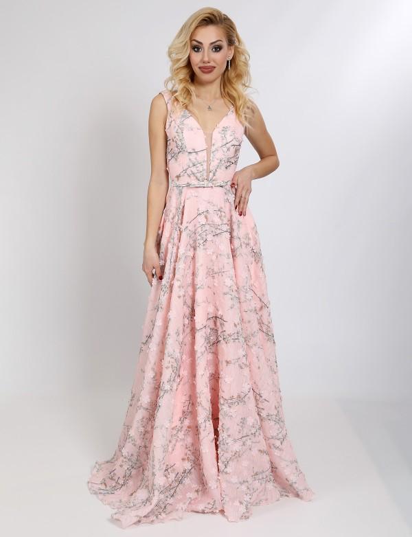 G 2298 Платье вечернее из 3D-гипюра с V-обрызным вырезом