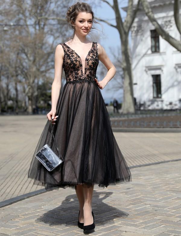 OP 1123 Платье коктейльное с 3D вышивкой и пышной юбкой