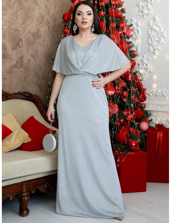 G 5006 1 Платье вечернее в пол из сверкающего материала