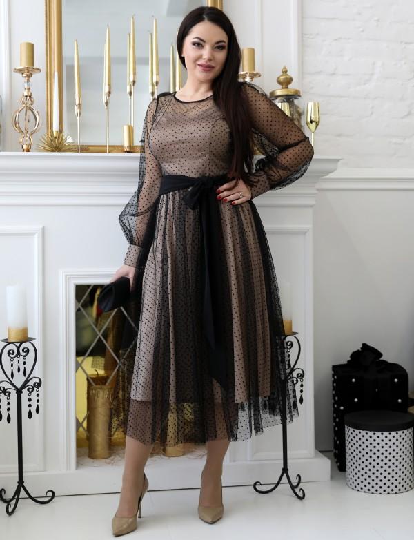 G 2358 Платье коктейльное в мелкую бархатную мушку с атластным поясом