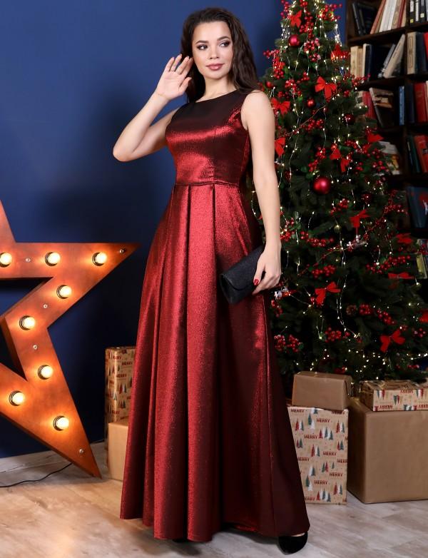 G 5001 Платье вечернее из парчи лаконичного фасона